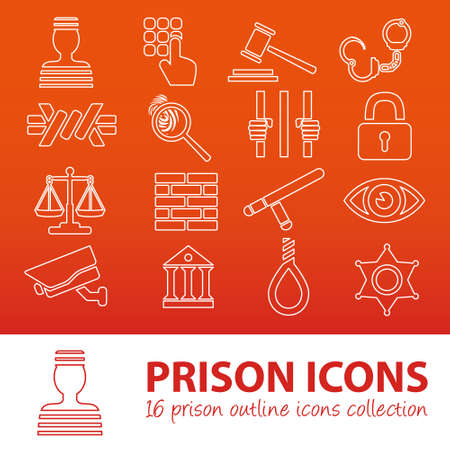 icons set: prison outline icons