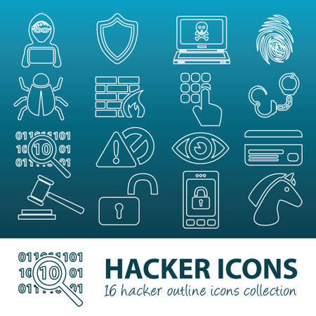 punishable: hacker outline icons