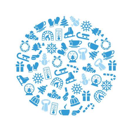 Winter pictogrammen in cirkel Stockfoto - 34185616