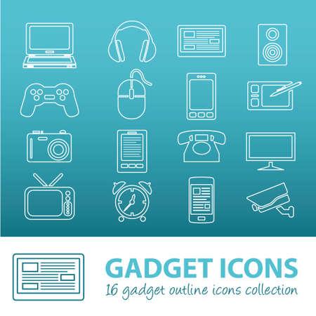 gadget: gadget outline icons Illustration