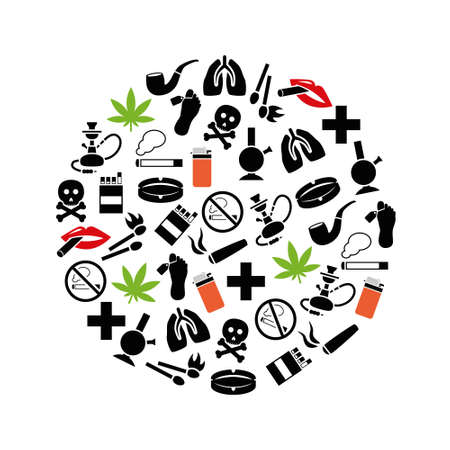 cross match: smoking icons in circle Illustration