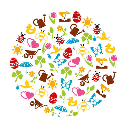spring icons in circle Vector