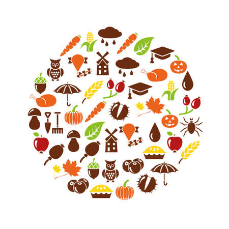 pumpkin pie: autumn icons in circle Illustration