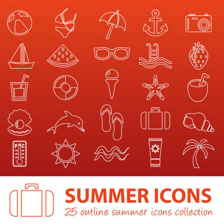 watermelon boat: summer outline icons