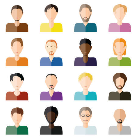short haired: man icons Illustration
