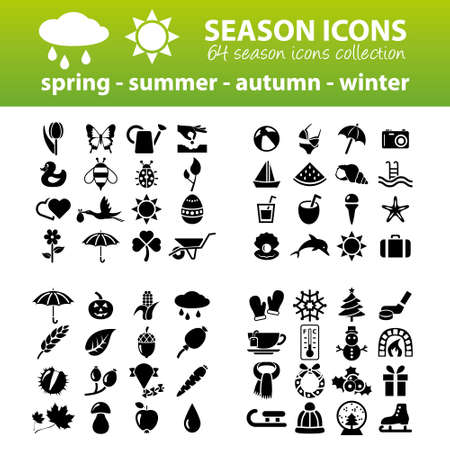 flora fauna: season icons Illustration