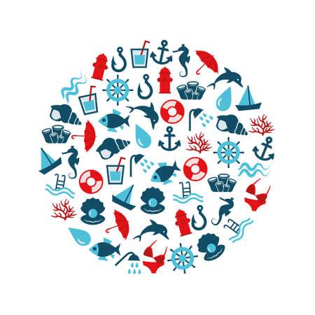 caballo bebe: iconos planos de agua en c�rculo Vectores