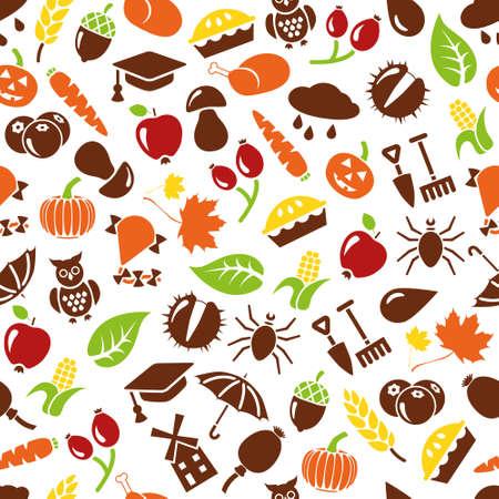 corn poppy: autumn seamless pattern