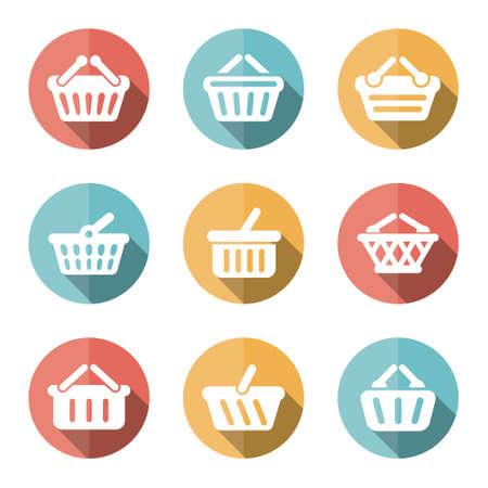 eshop: e-shop basket flat icons