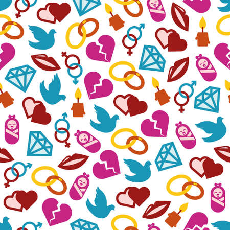 diamond candle: love seamless pattern