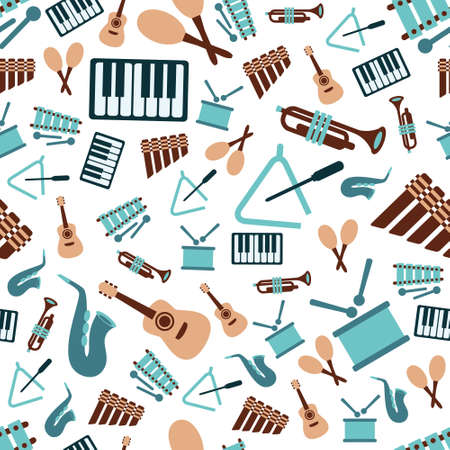 band instruments: music instruments seamless pattern