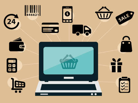 eshop: computer and e-shop icons