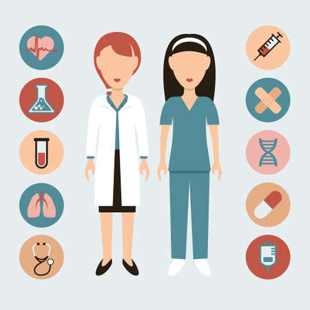 doctor and nurse flat icons