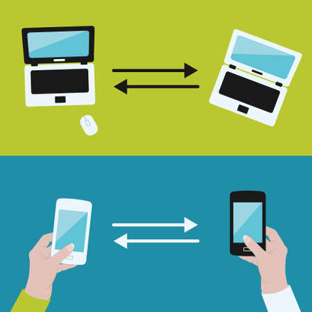 between: communication between devices Illustration