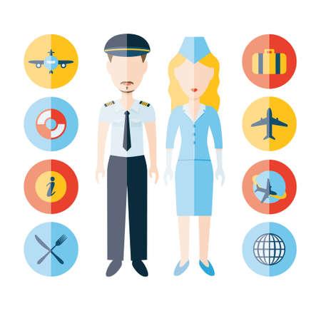 stewardess: pilot, stewardess and icons