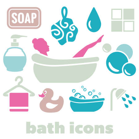 bubble bath: bath icons