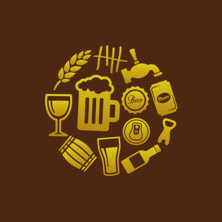 on tap: beer icons in circle