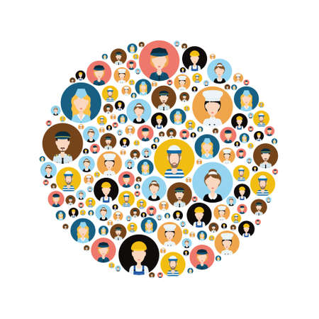 matron: people head icons in circle Illustration