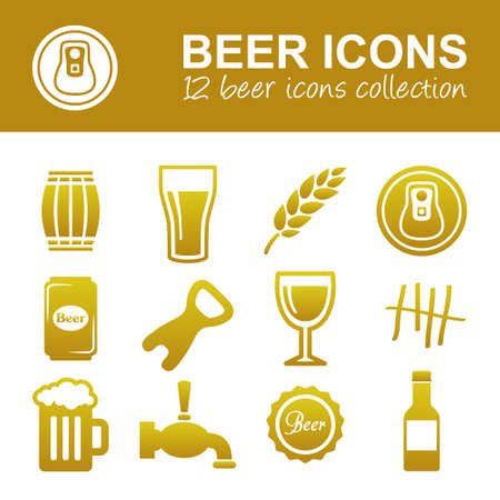 on tap: beer icons Illustration