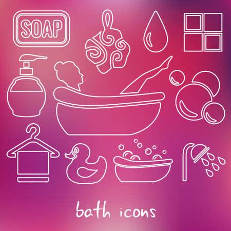 pato de hule: iconos contorno baño