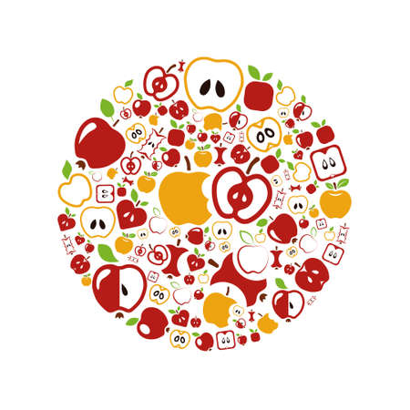 apple bite: apple icons in circle