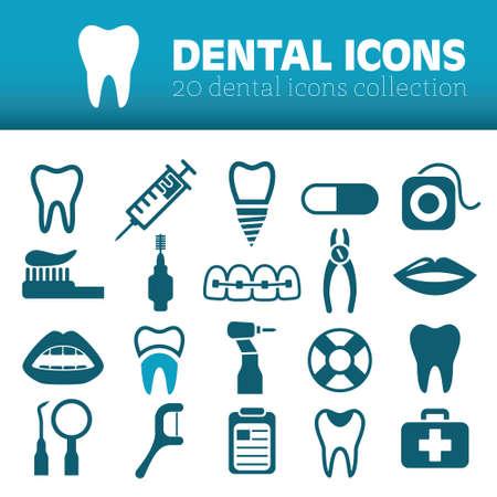 tandheelkundige iconen Stock Illustratie