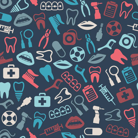 braces: dental seamless pattern