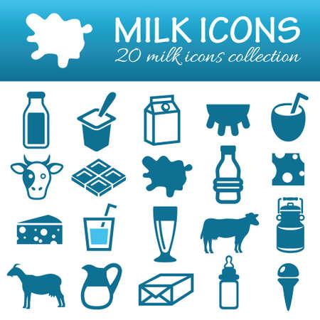 yogur: iconos de leche