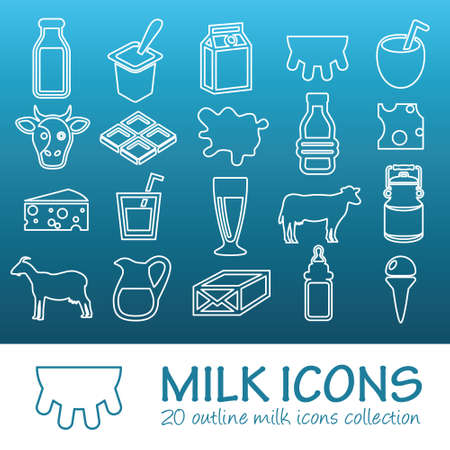 dairy cows: outline milk icons