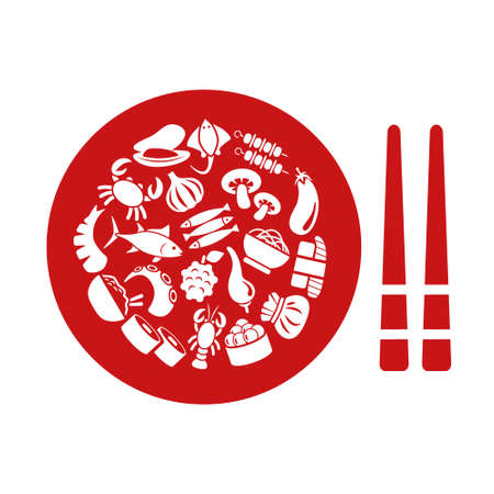 food plate: asian food icons in plate