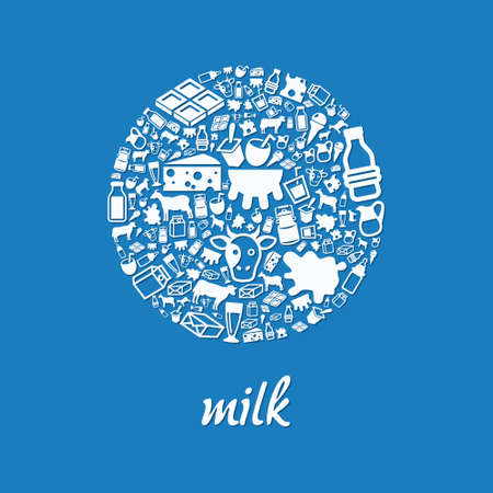 milk icons in circle