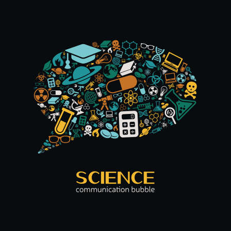 science icons: science communication bubble Illustration