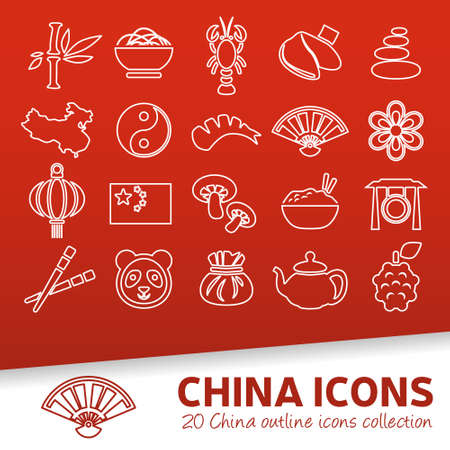 fortune cookie: china outline icons