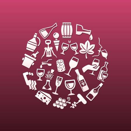 demijohn: wine icons in circle