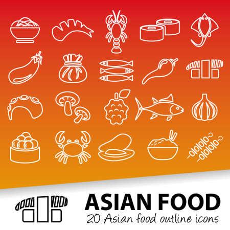 asian iconos contorno alimentos