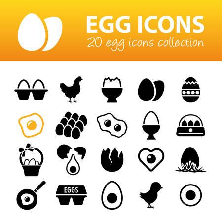 huevos fritos: iconos de huevo Vectores