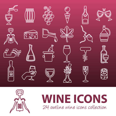 french wine: wine outline icons