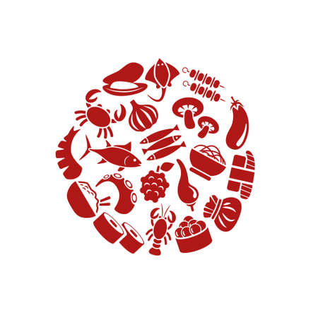 thai noodle: asian food icons in circle