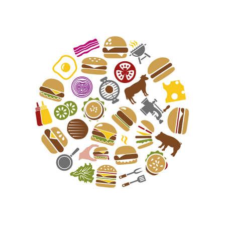 onion rings: hamburger icons in circle Illustration