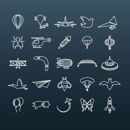 flying outline icons Vector