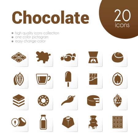 chocolate caliente: iconos de chocolate