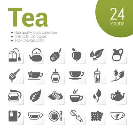 mint leaves: tea icons Illustration