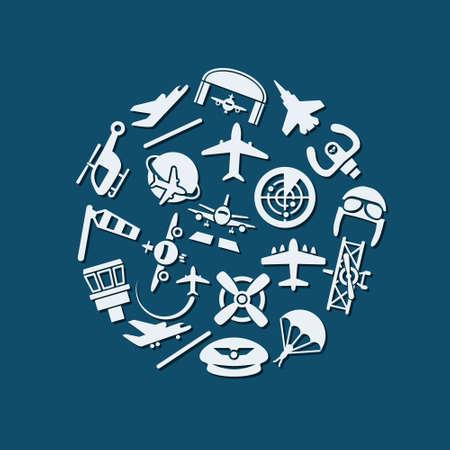 aeronautics: aviation icons in circle