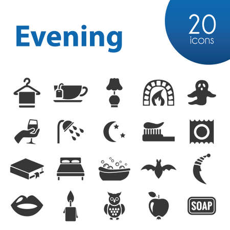 romance bed: evening icons Illustration