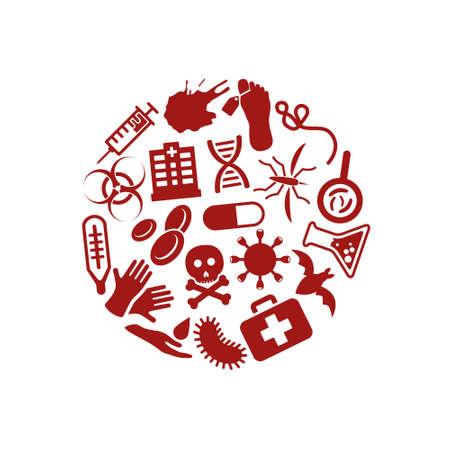 plaga: iconos de la plaga en c�rculo