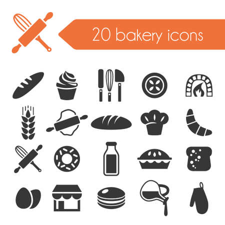 baked goods: bakery icons Illustration