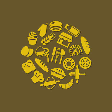 dough: bakery icons in circle Illustration