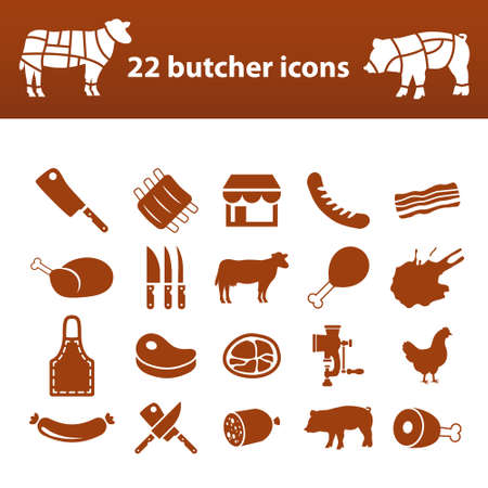 meat knife: butcher icons