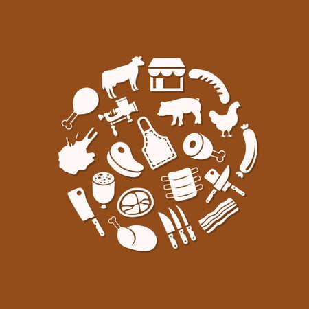 pork rib: butcher icons in circle