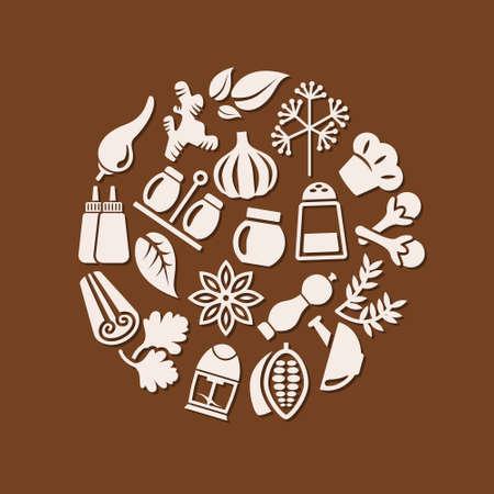 epices: icônes d'épices dans le cercle